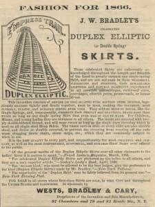 Advertentie voor crinolines van de Amerikaan J.W. Bradley, 1866