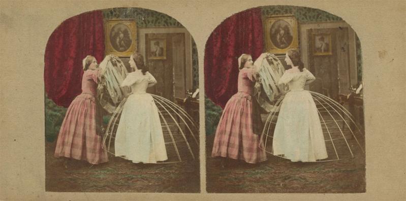 Ironische stereofoto van de cage-crinoline, ca. 1860