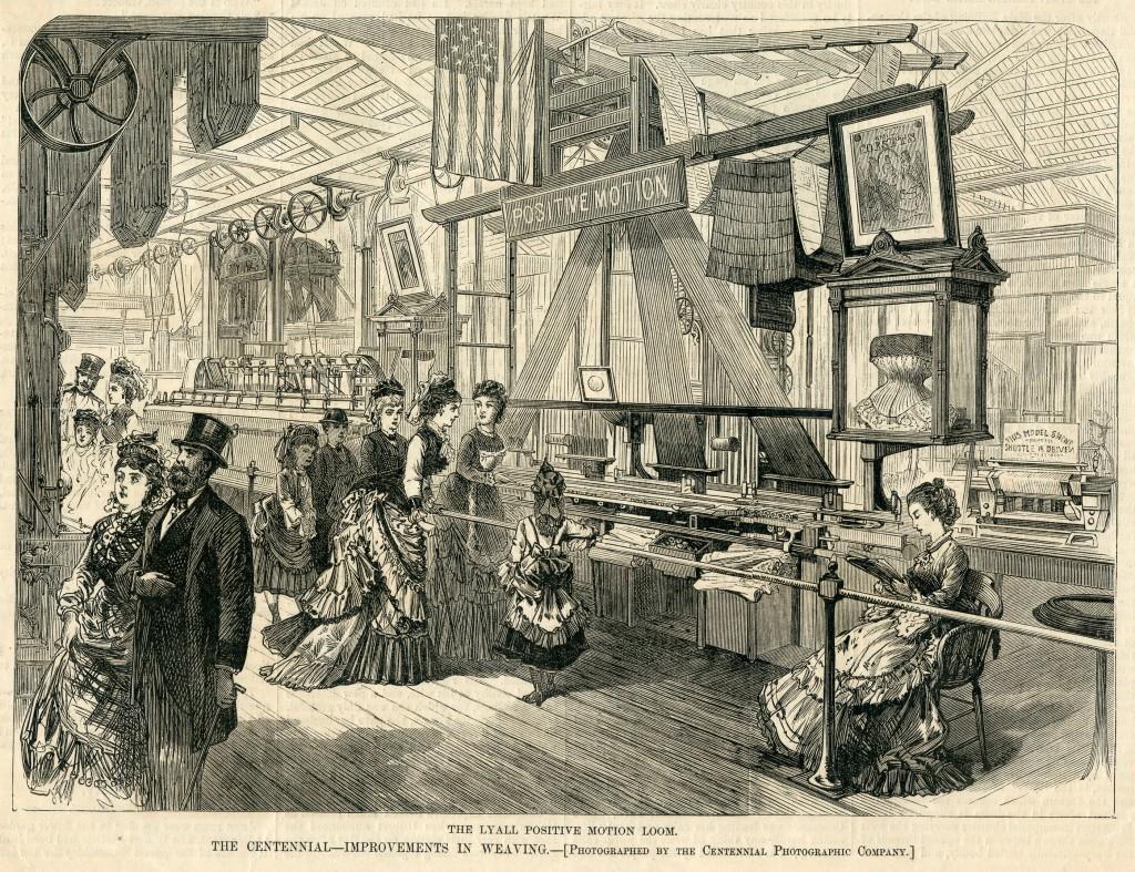 Lyall's Positive Motion Loom weefde tegelijkertijd vier korsetten, 1876