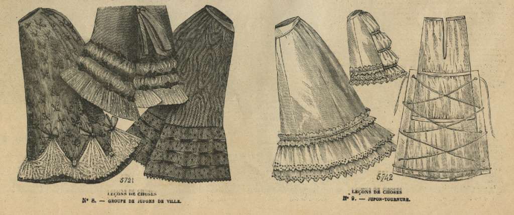 Gewone onderrokken en een onderrok met een ingebouwde sleep-tournure, 1893