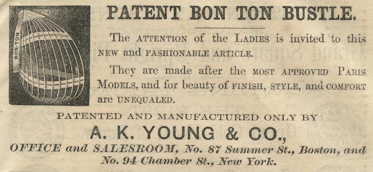"Gepatenteerde ""Bon Ton"" tournure, 1868"