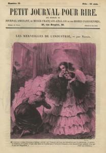 Spotprent op de opblaasbare crinoline, ca. 1856