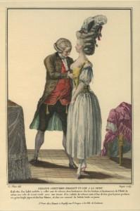 De kleermaker bij het pasen van het rijglijf, ca. 1780 (Bron: Stella Blum)