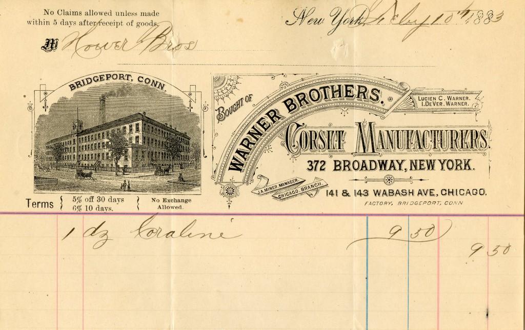 Briefhoofd Warner Brothers met afbeelding van de fabriek in Bridgeport, 1883