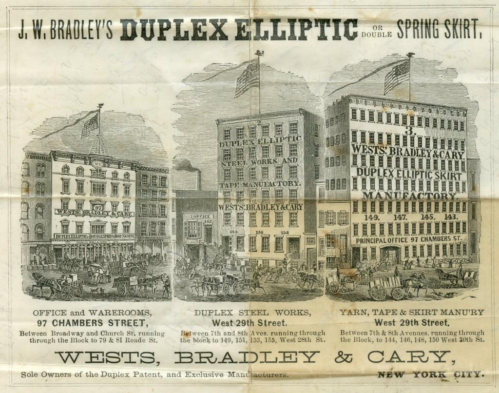De drie panden van de firma Wests, Bradley & Cary, ca. 1865