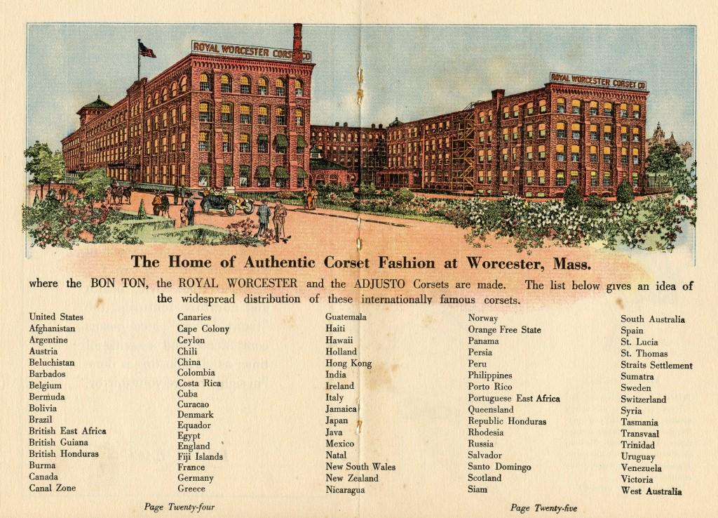 Imposante architectuur van de Royal Worcester Corset Co. en de lijst van de landen waarnaar dit bedrijf exporteerde, 1915